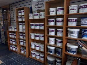 The paint display at a ReColour stockist, who has a shelving area full of our low cost and eco ReColour paint.