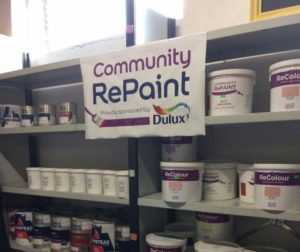 A photo of a selection of our affordable, low-cost and environmentally friendly ReColour emulsion paint and chalk paint in a range of colours for sale at Community RePaint North Staffordshire.