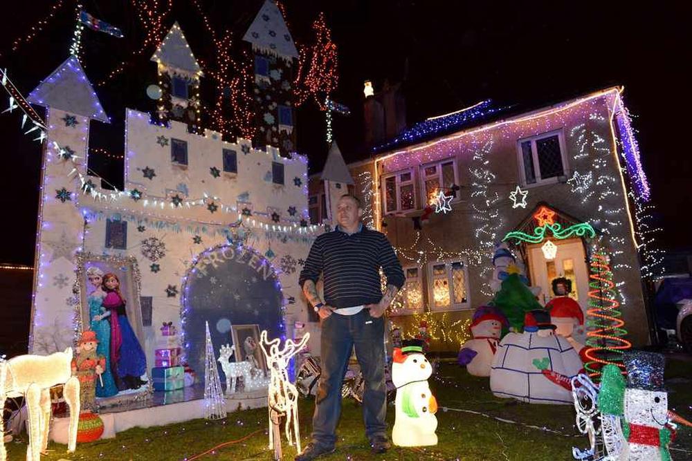 Christmas scene and christmas lights display on a residential property
