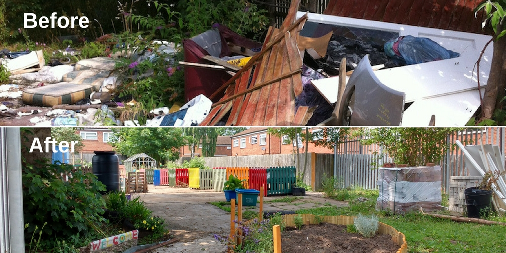 before and after photos of The CRICK Project community garden