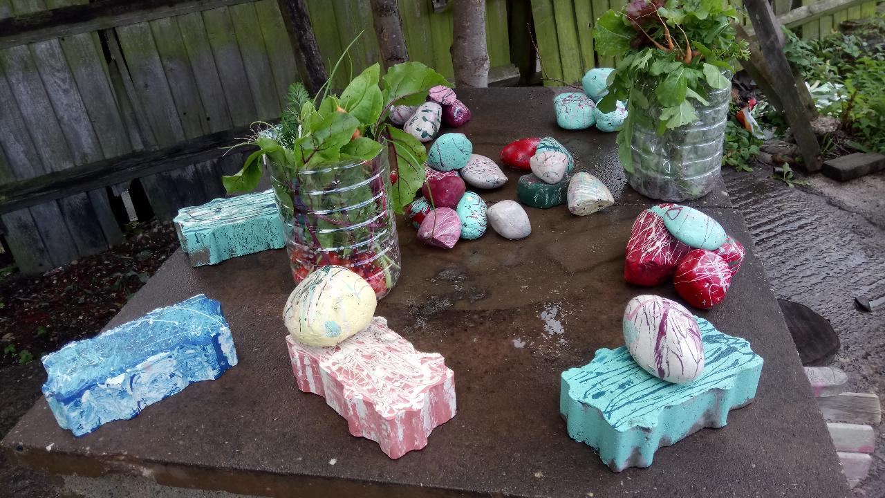 painted bricks and stones