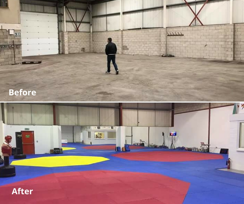 Before and after fitness studio redecoration with ReColour in Brilliant White emulsion.