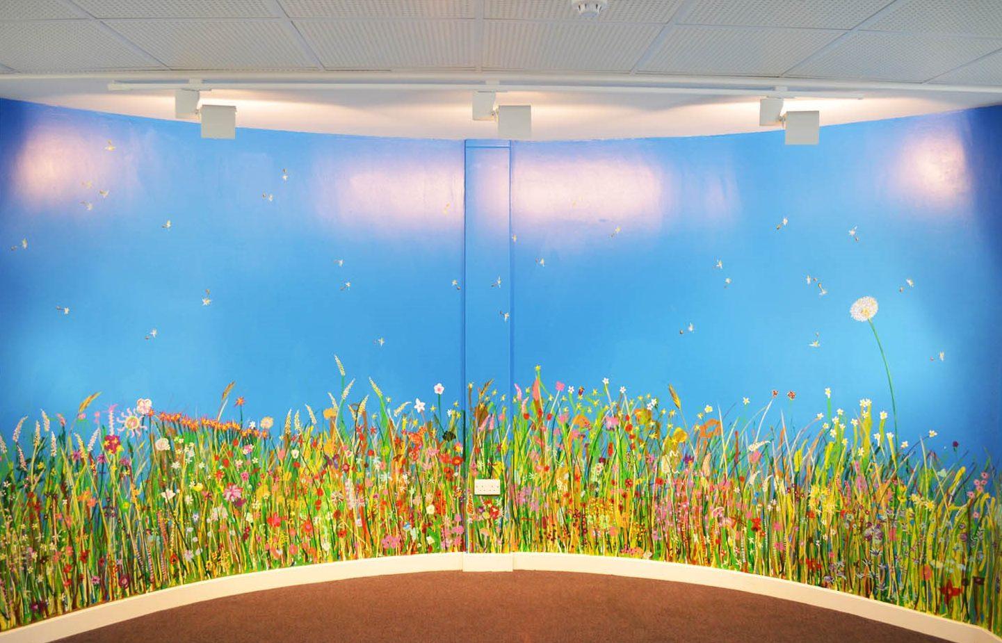 painted mural of wildflower field.