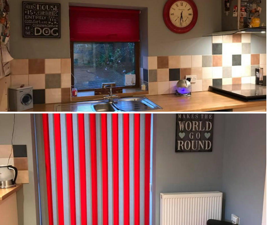 Redecorated kitchen in grey and red