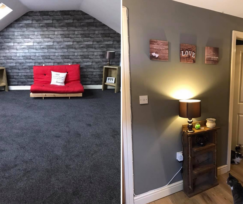 Redecorated bedroom in grey paint