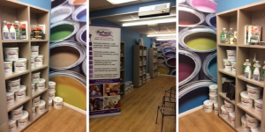 Three photos of the paint display at the Homes with Style Store in Bootle, Liverpool. There are 3 shelving units fulls of low cost and eco ReColour emulsion paint in a range of colours.
