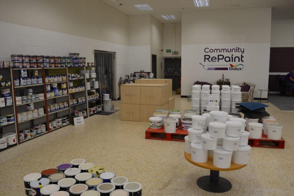 Paint display at Community RePaint Burnley