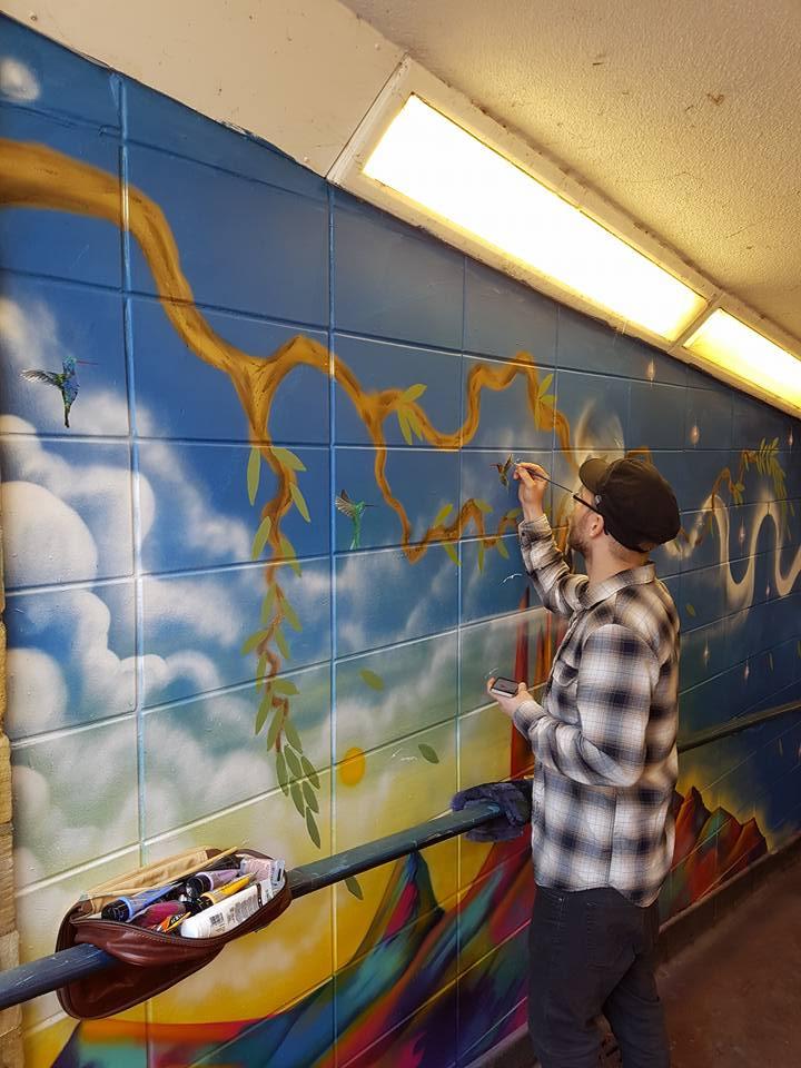 Community mural in Bradford underpass
