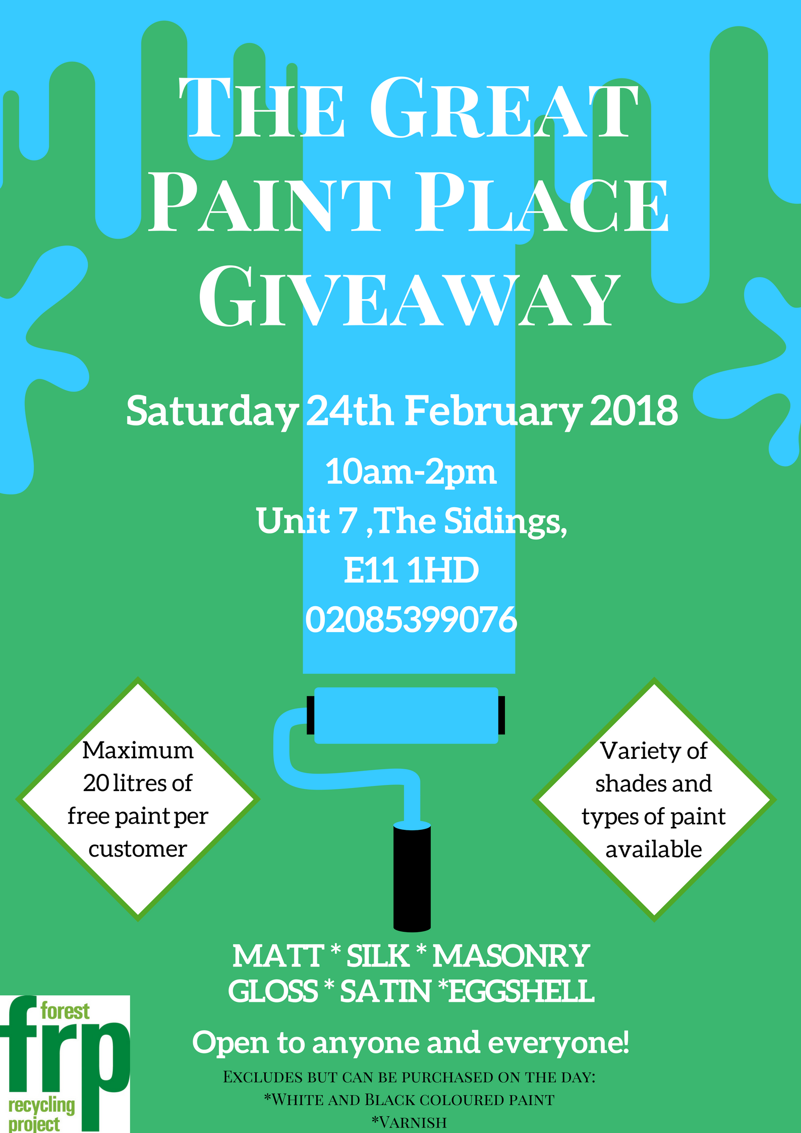 Great Paint Place Giveaway at Forest Recycling Project on 24 Feb