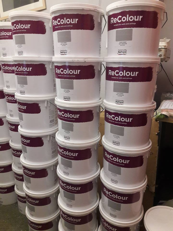 A range of our gorgeous grey ReColour emulsion paint in 5litre containers.