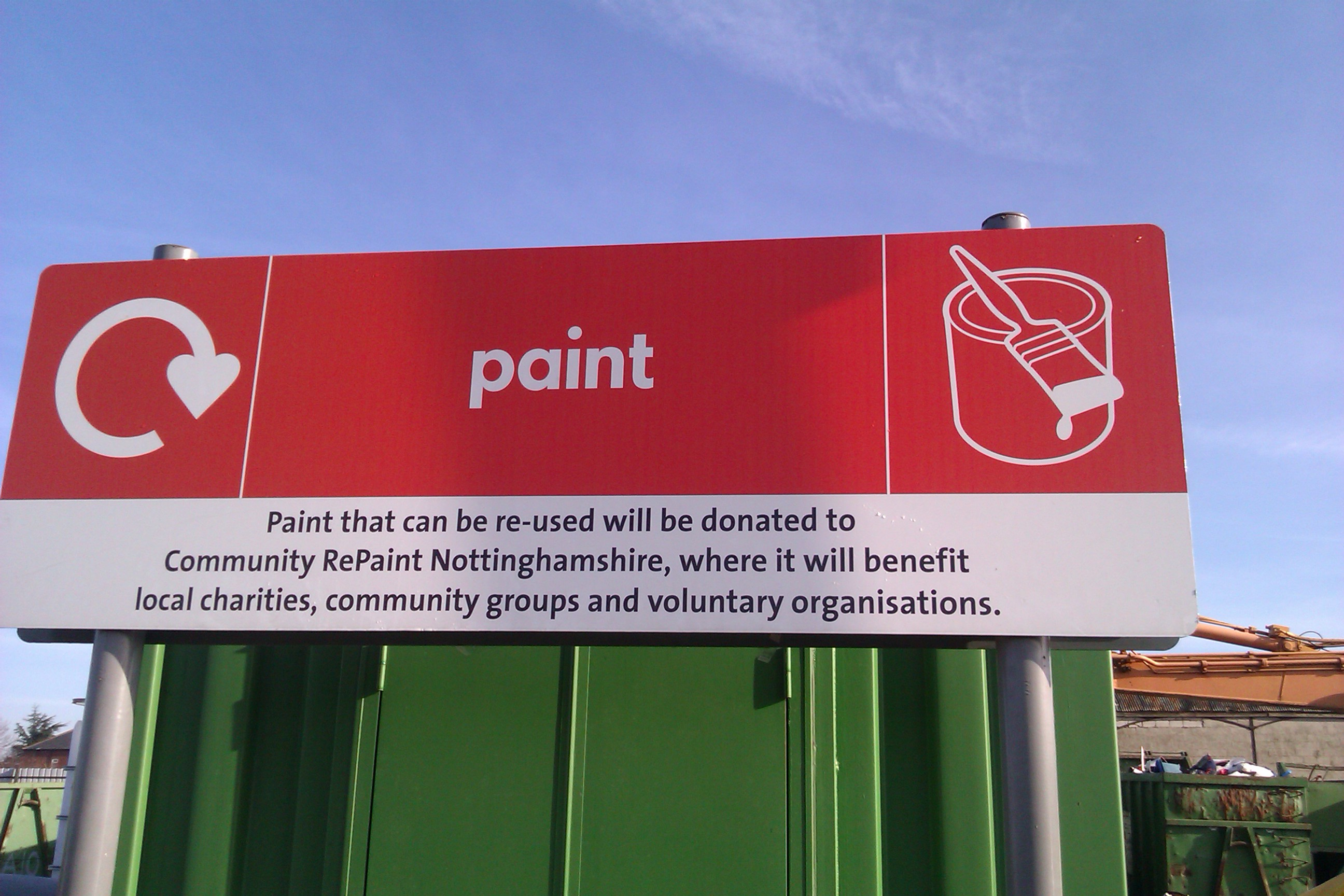 Paint donation sign at Nottinghamshire County Council that reads: Paint that can be re-used will be donated to Community RePaint Nottinghamshire, where it will benefit local charities, community groups and voluntary organisations.