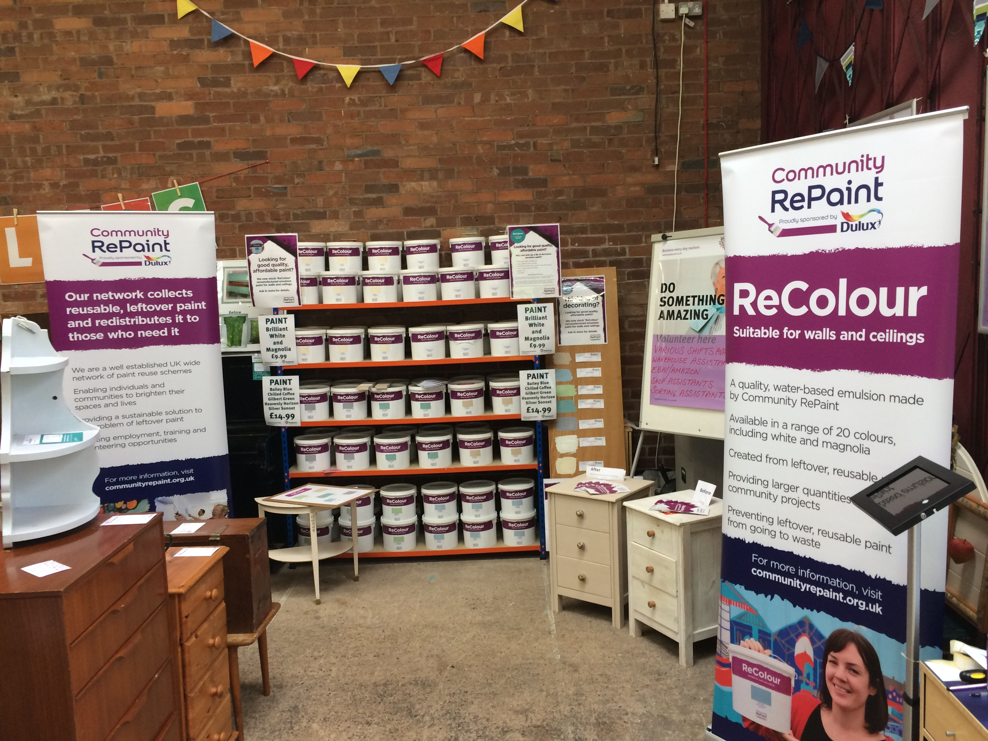 ReColour stocked shelves at Hospiscare Exeter.