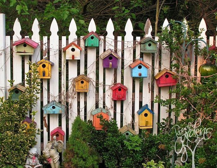 painted garden bird boxes
