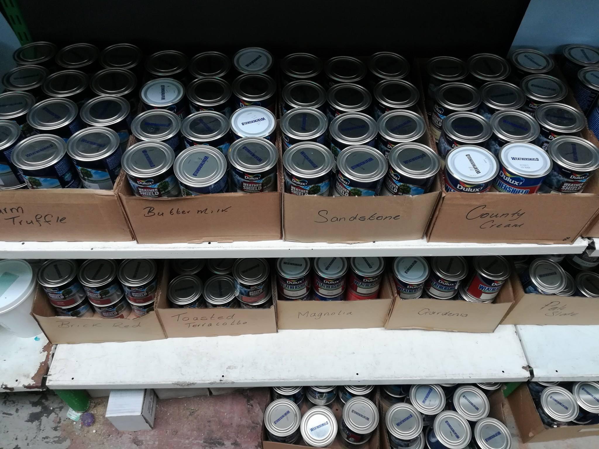 Boxes full of masonry paint