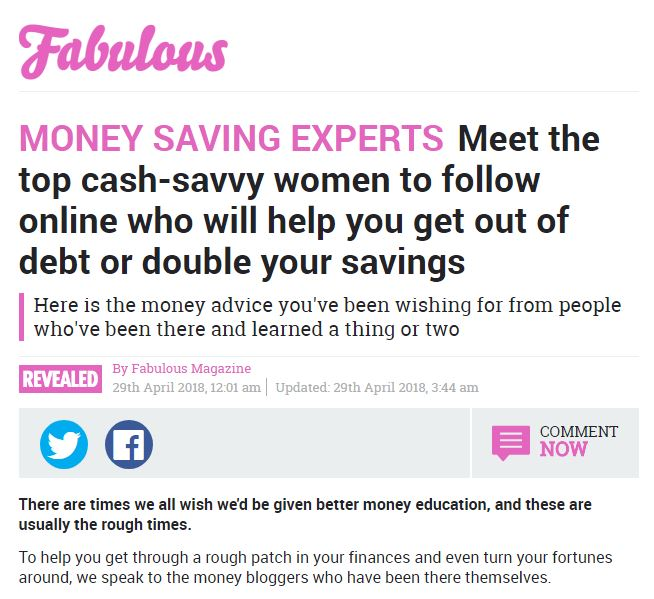 Screenshot of The Sun magazine article that reads ' Money Saving Experts: meet the top cash-savvy women to follow online who will help you get out of debt or double your savings'