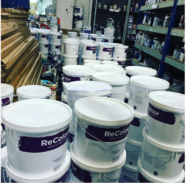 A photo of a selection of our affordable, low-cost and environmentally friendly ReColour emulsion paint in a range of colours at Community RePaint Wirral.