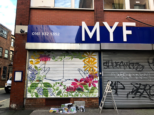 The Muslim Youth Foundation is given a fresh exterior by artist Safrana, with help from cheap and recycled paint from Community RePaint Wythenshawe.
