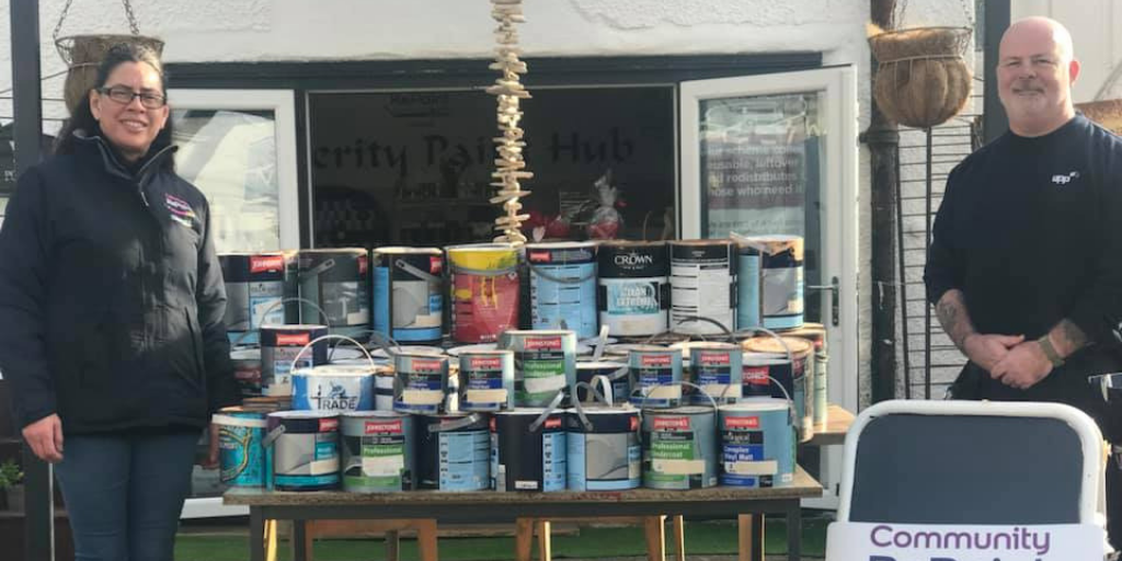 Community RePaint Cornwall receive 100 containers of paint donation from UPP Plymouth.  a Community RePaint Scheme.
