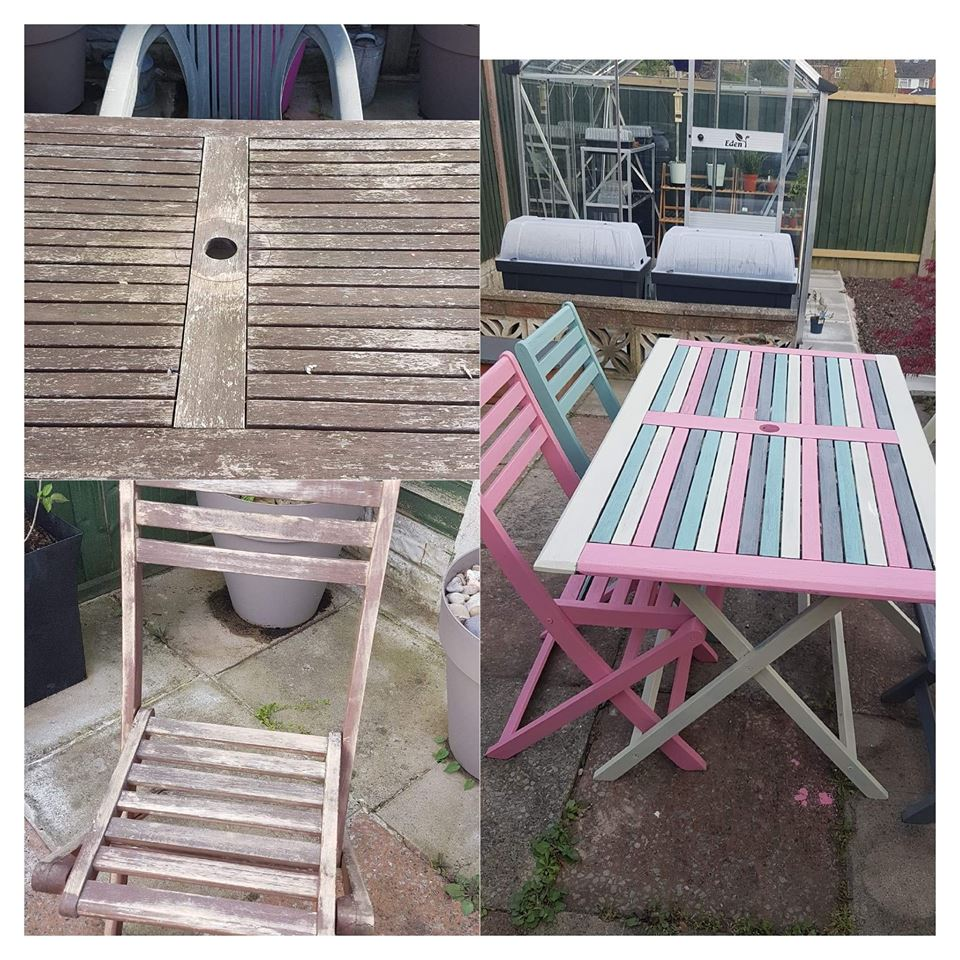 A before and after photo of an wooden garden table and chair that has been painted in pastel pink paint, yellow paint, blue paint and purple paint using cheap and recycled paint from Community RePaint Wirral.