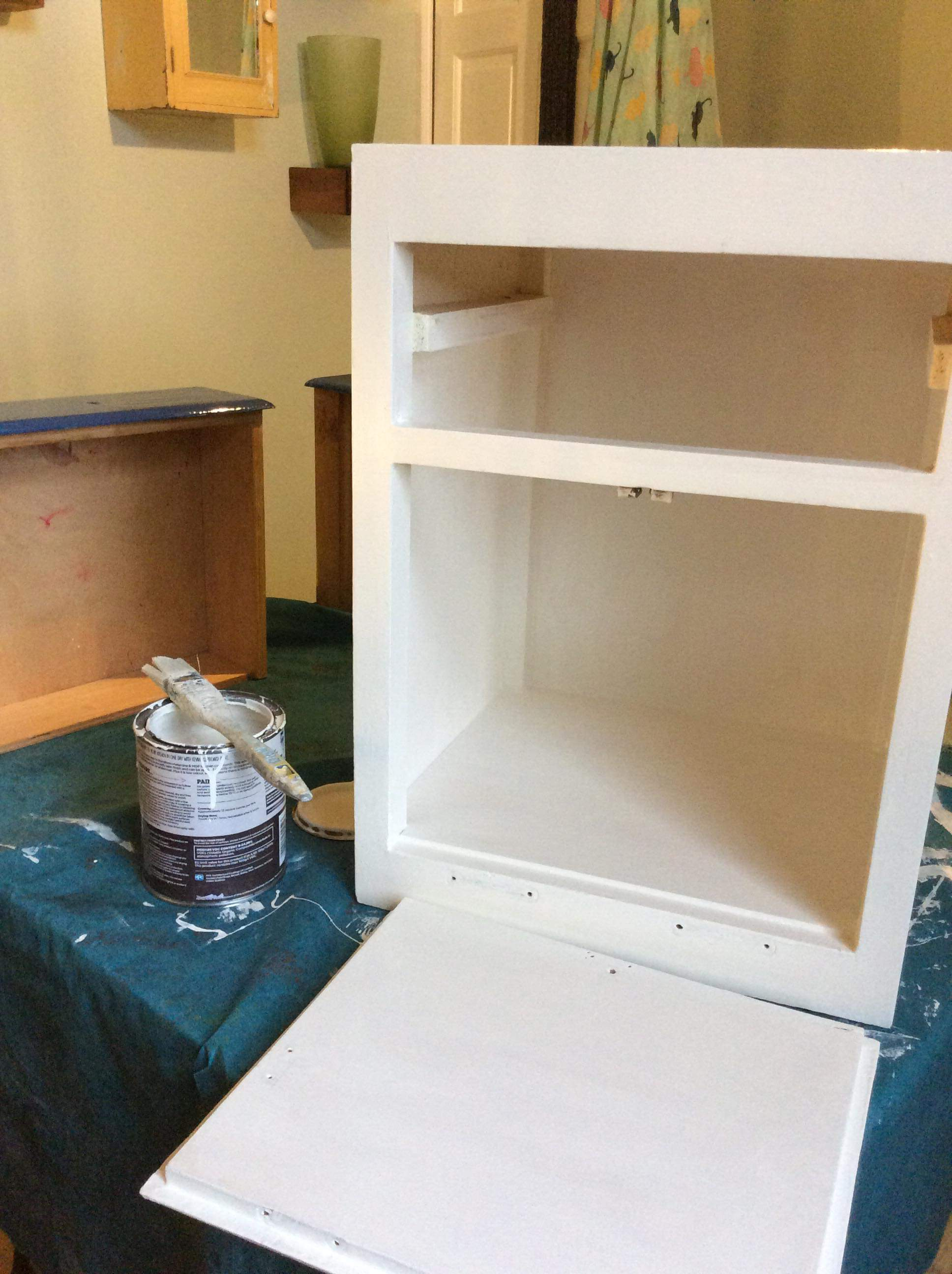 Chest of drawers in the process of being upcycled using recycled paint from Community RePaint Bristol City.