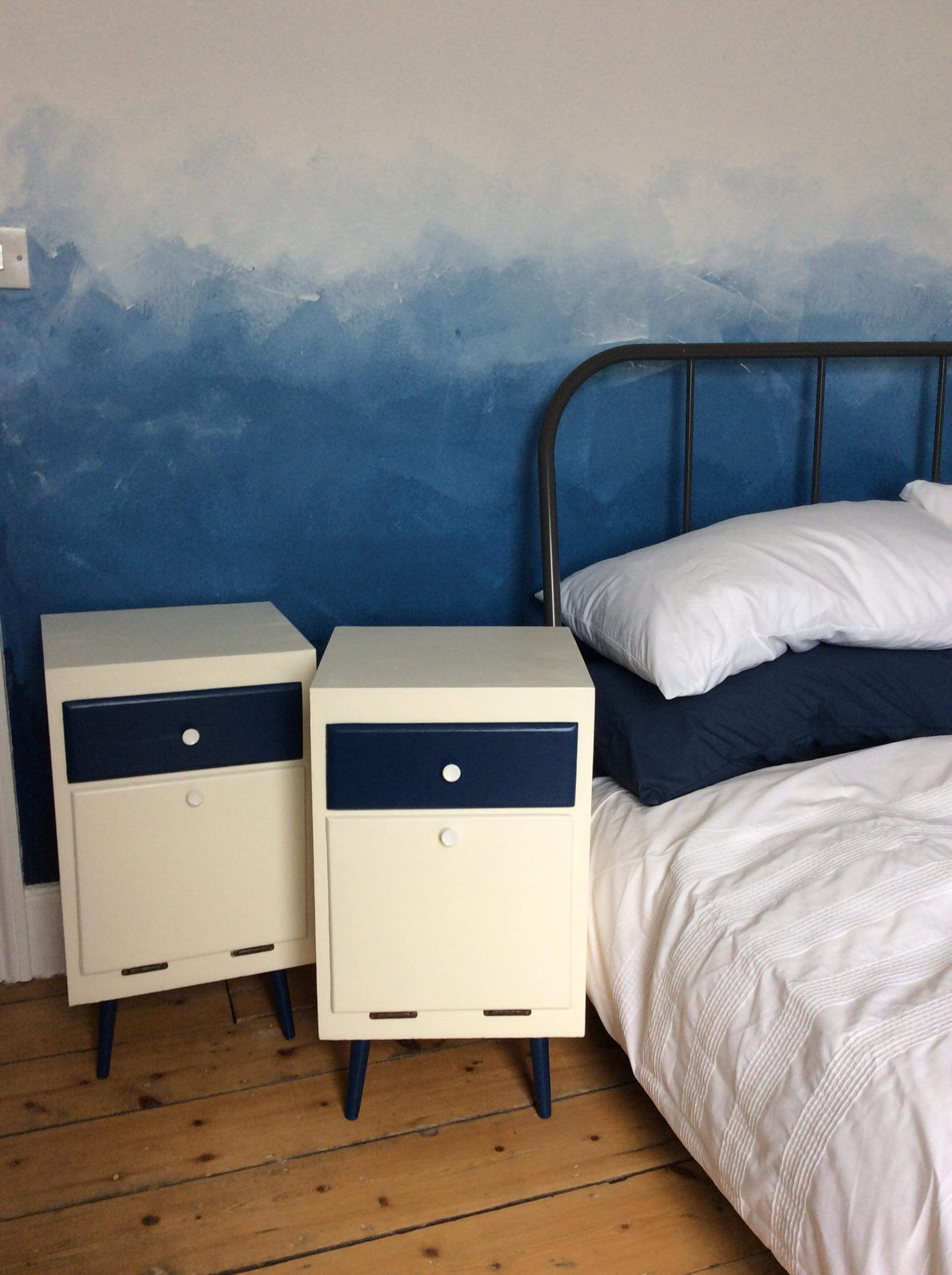 Upcycling project - Upcycled chest of drawers using recycled paint from Community RePaint Bristol City. The chest of drawers have been painted with cream paint and navy blue paint.