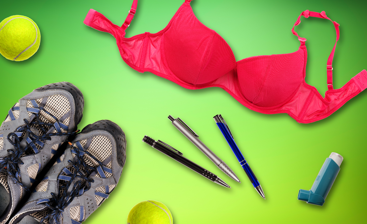 A photo of objects that can be recycled including bras, tennis balls, ballpoint pens, asthma inhaler, paint and trainers.