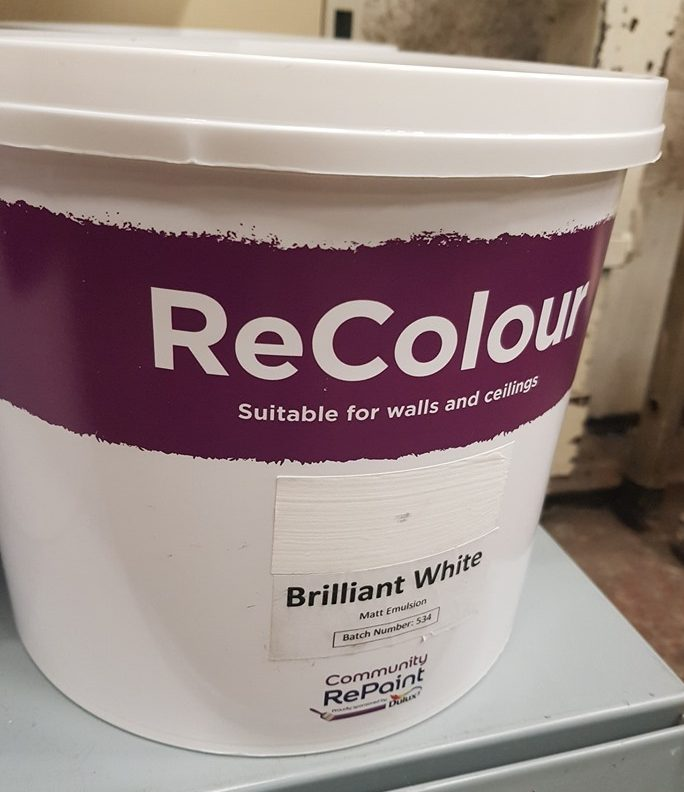 A photo of a range of our low cost and environmentally friendly paint, ReColour in Brilliant White matt emulsion.