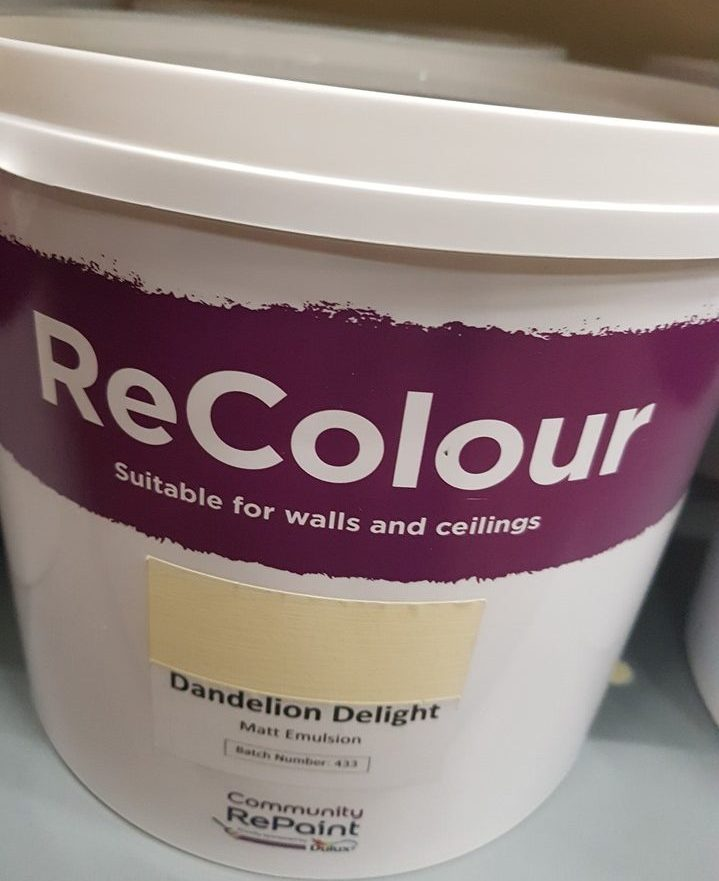 A photo of a range of our low cost and environmentally friendly paint, ReColour in Dandelion Delight (pale yellow) matt emulsion.