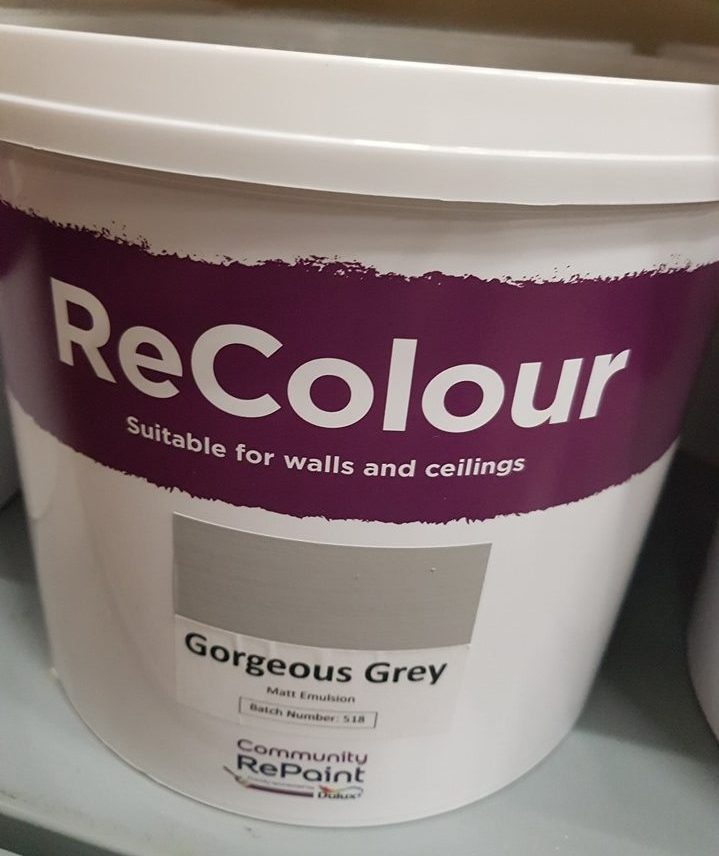 A photo of a range of our low cost and environmentally friendly paint, ReColour in Gorgeous matt emulsion.