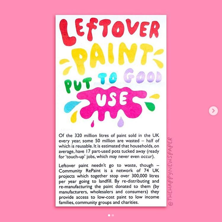 An article that features in the The Happy News that reads: Leftover paint put to good use. Of the 320 million litres of paint sold in the UK every year, some 50 million are waste - half of which is reusuable. It is estimate that households, on average, have 17 part-used pots tucked away (ready for 'touch-up' jobs, which may never even occur). Leftover paint needn't go to waste, though - Community RePaint is a network of 74 UK projects which together stop over 300000 litres per year going to landfill. By re-directing and re-manufacturing the paint donated to them (by manufacturers, wholesalers and consumers) they provide access to low-cost paint to low income families, community groups and charities.