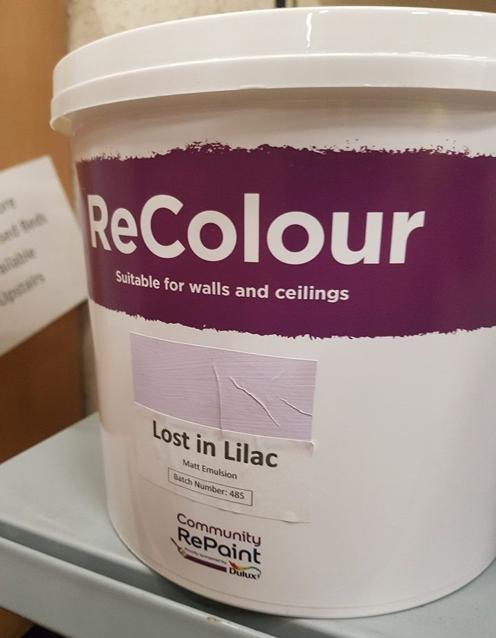 A photo of a range of our low cost and environmentally friendly paint, ReColour in Lost in Lilac matt emulsion.