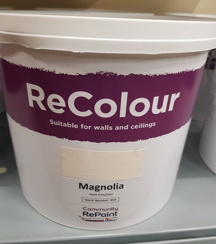 A photo of a range of our low cost and environmentally friendly paint, ReColour in Magnolia matt emulsion.