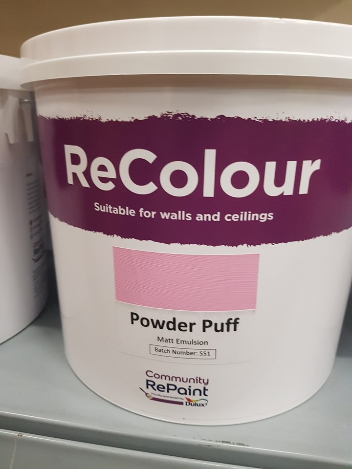 A photo of a range of our low cost and environmentally friendly paint, ReColour in Power Puff (pale pink) matt emulsion.
