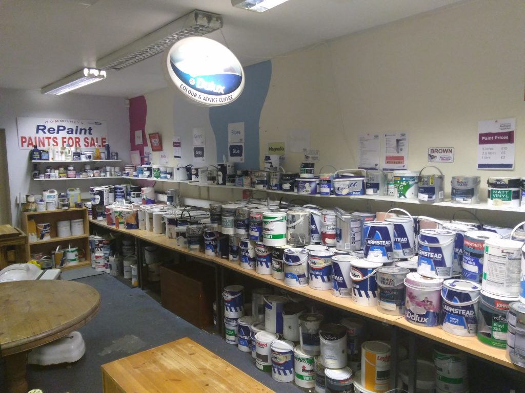 Paint display inside Community RePaint Hull shop.