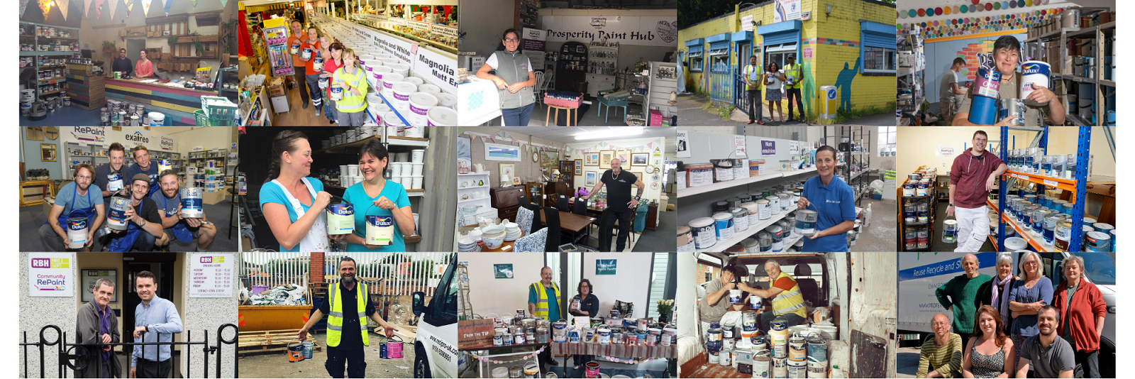 A collage of fifteen photos of staff members working at different Community RePaint schemes. In some photos staff members are holding paint containers, in other photos they stand next to their paint displays.