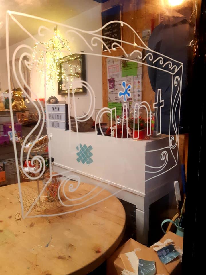 Community RePaint Cornwall paint sign on shop window
