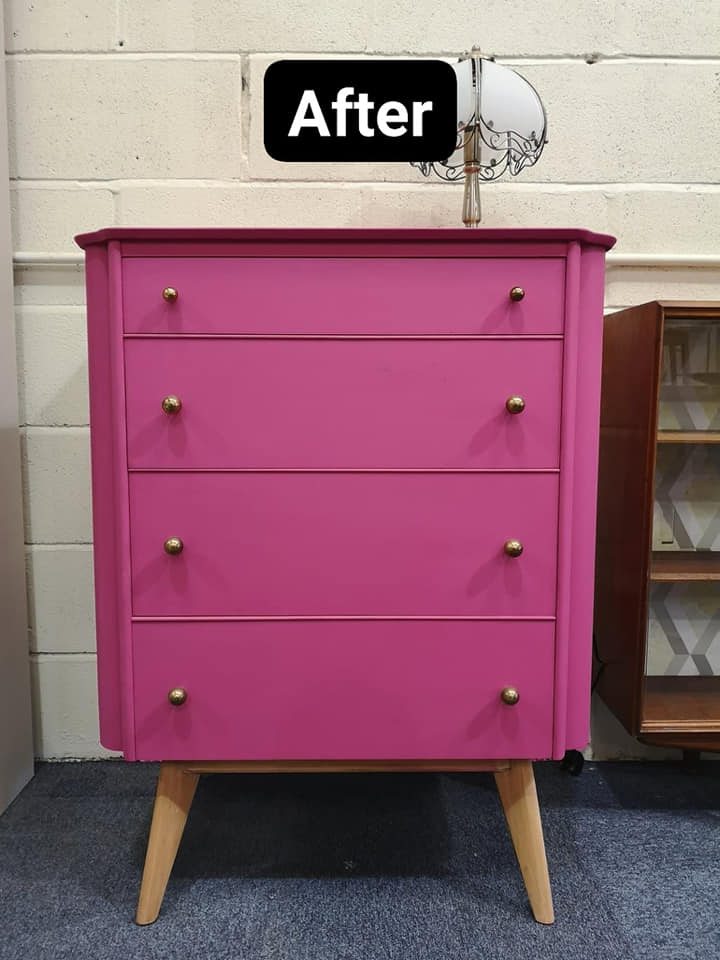 After upcycling chest of drawers - painted bright pink.