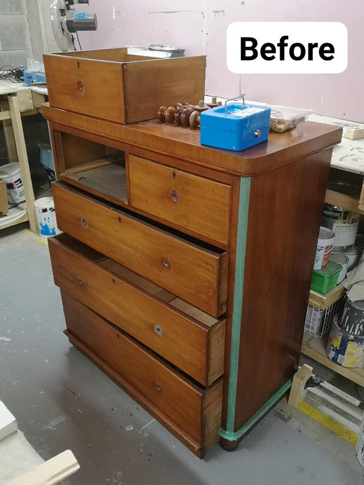Before upcycling photo of chest of drawers - showing brown wood veneer.