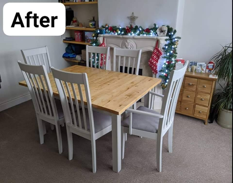 After upcycling photo of dining table and chairs - the table top is polished pine, and the chairs/table legs are painted light grey.