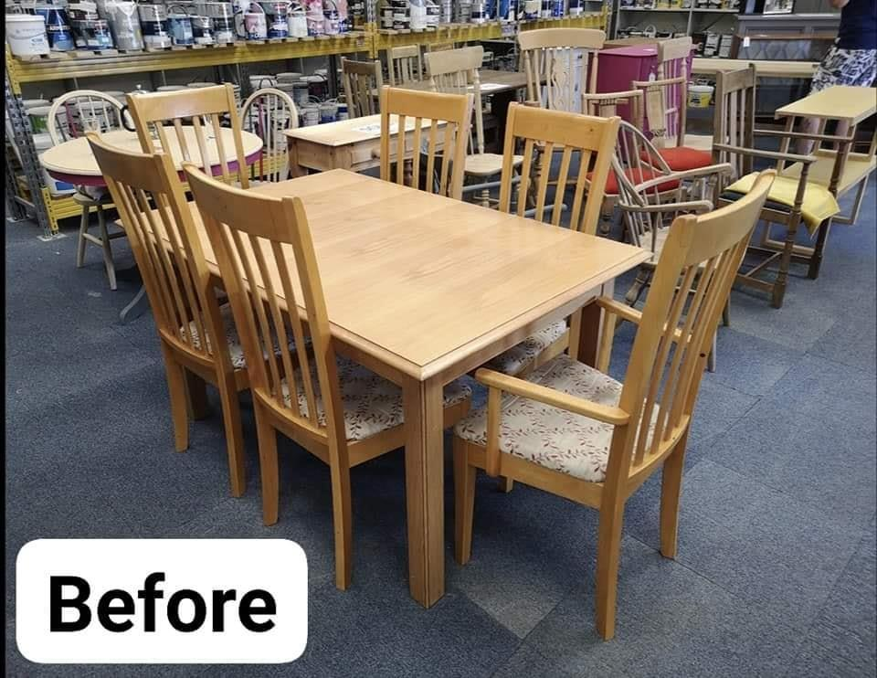 Before upcycling photo of dining table and chairs in pine.