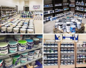 4 images of neat and tidy paint displays