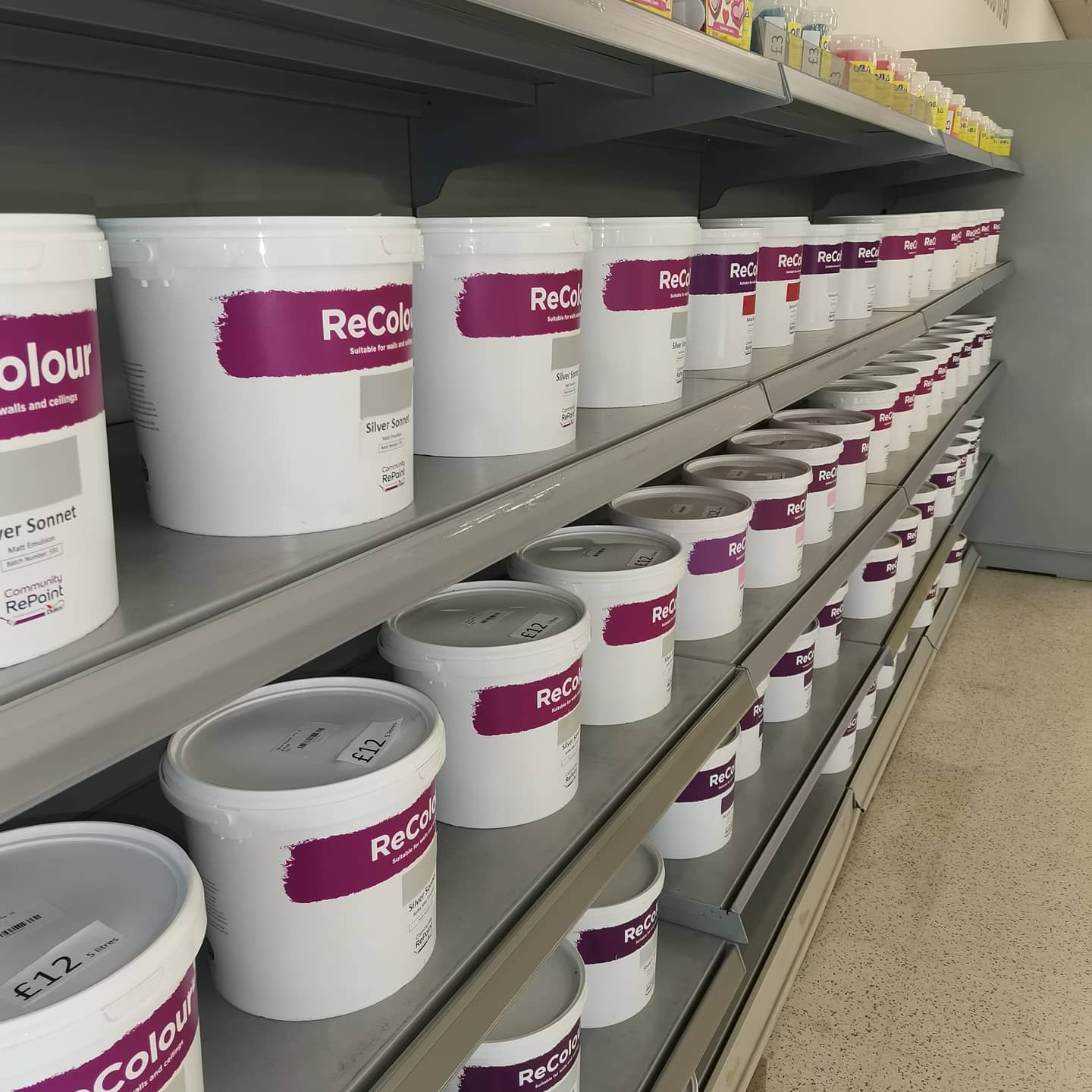 A selection of our low cost and environmentally friendly ReColour paint. In a range of colours in Matt and Silk Emulsion.