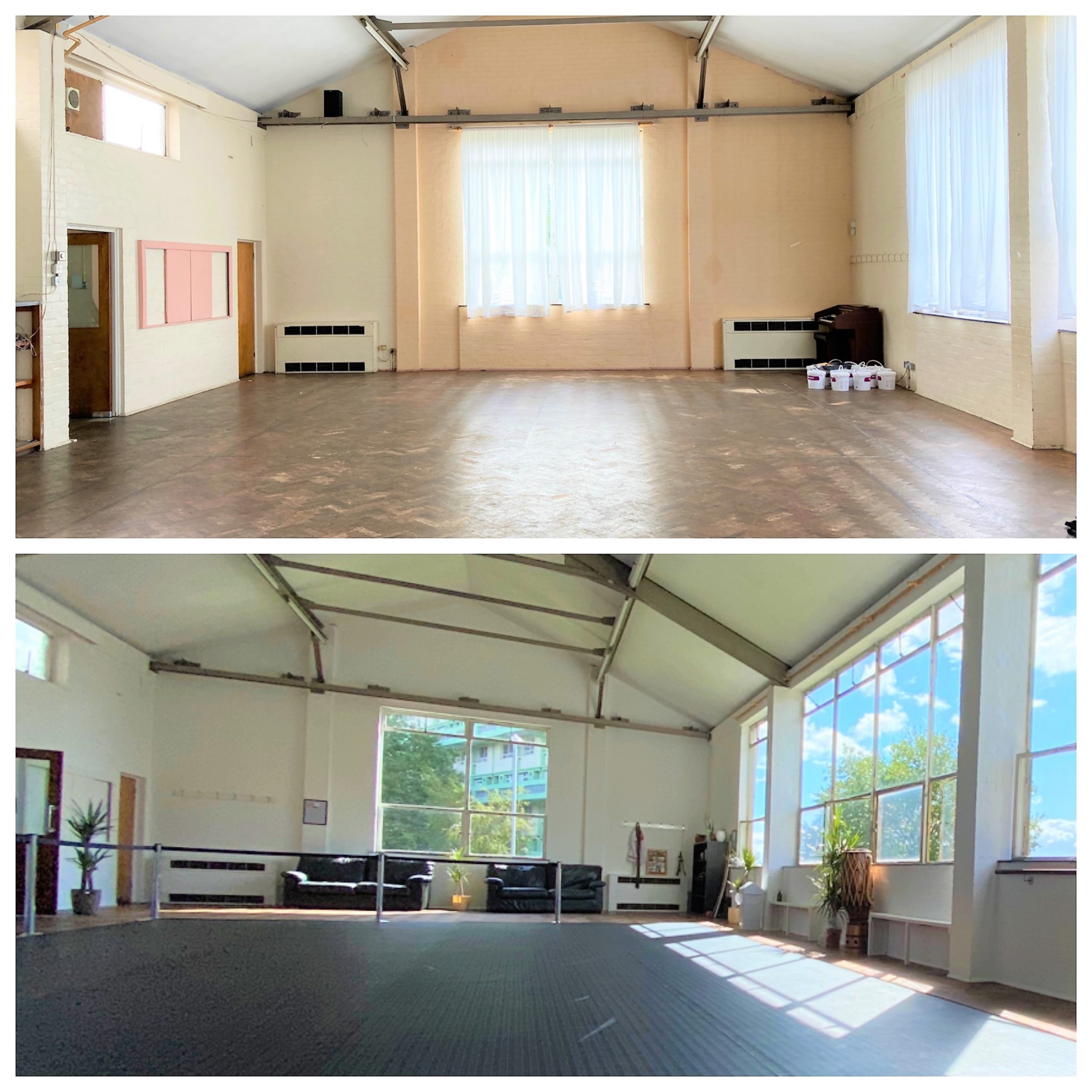 Before and after redecoration of the exercise venue, Art of Movement in Bristol, using our cheap and environmentally friendly ReColour emulsion paint.