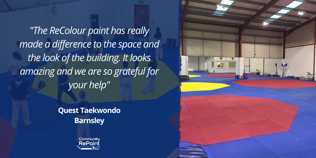 """ReColour review from a paint customer which reads: """"The ReColour paint has really made a difference to the space and the look of the building. It looks amazing and we are so grateful for your help"""" - Quest Taekwondo, Barnsley"""