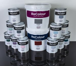 A photo of a selection of our affordable, low-cost and environmentally friendly ReColour emulsion paint, masonry paint and chalk paint in a range of colours.