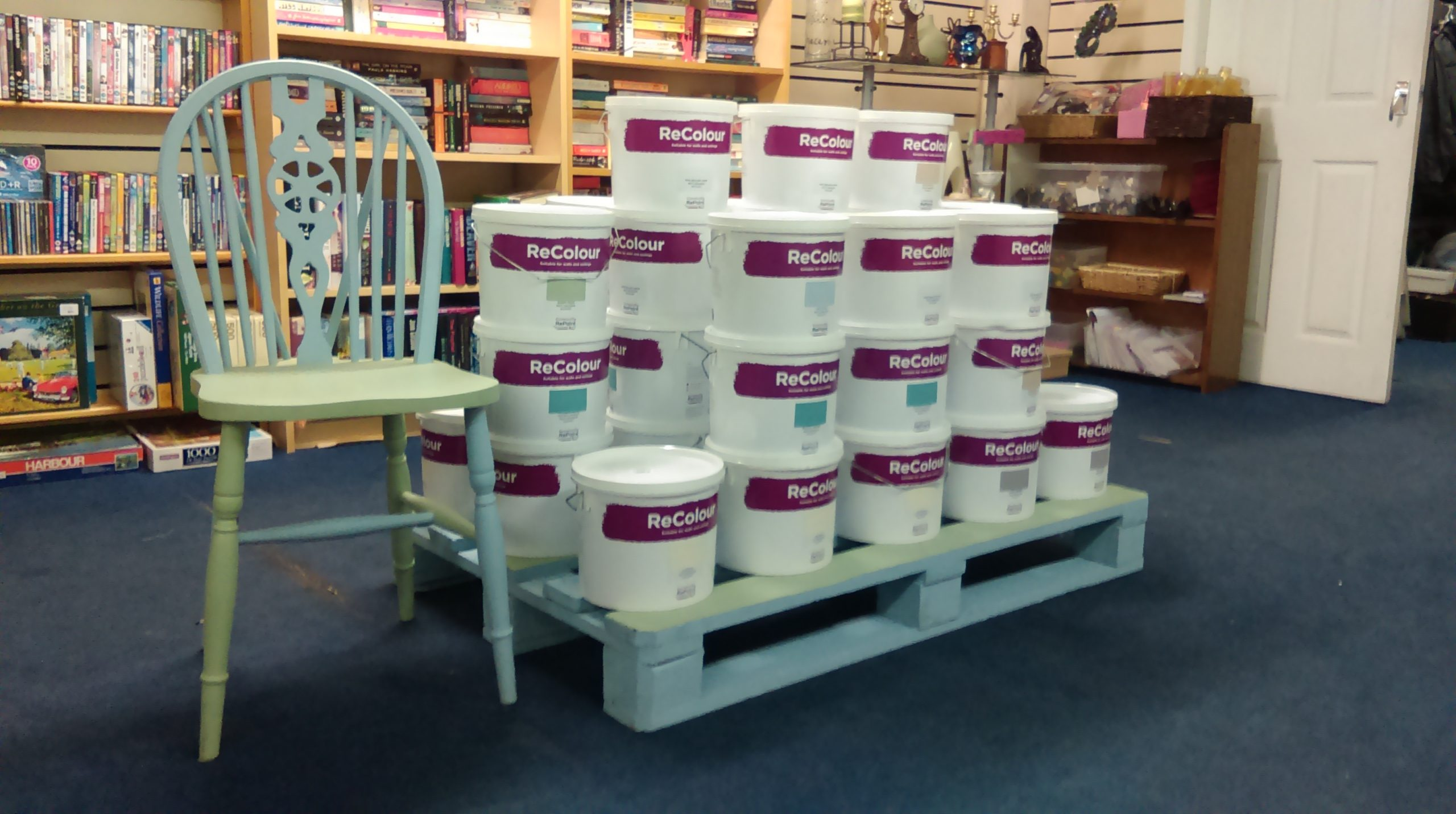photos from a Community RePaint who stock ReColour, and have a paint display to show the range of different colours of emulsion.