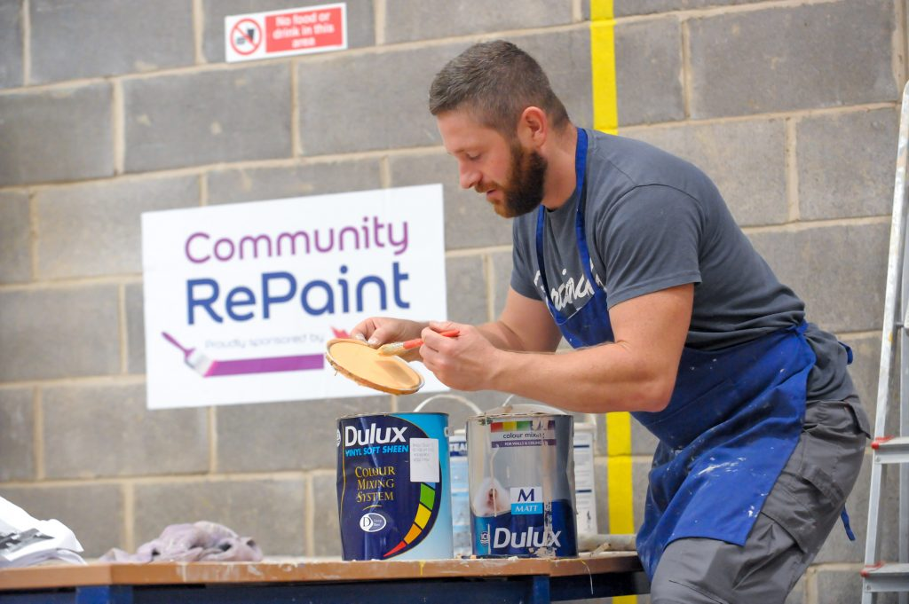 Paint processing with affordable, reusable paint at Community RePaint Loughborough