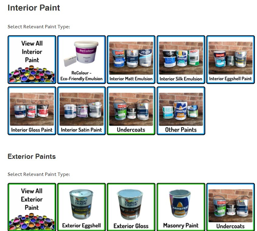 Screenshot of Exaireo's online paint shop