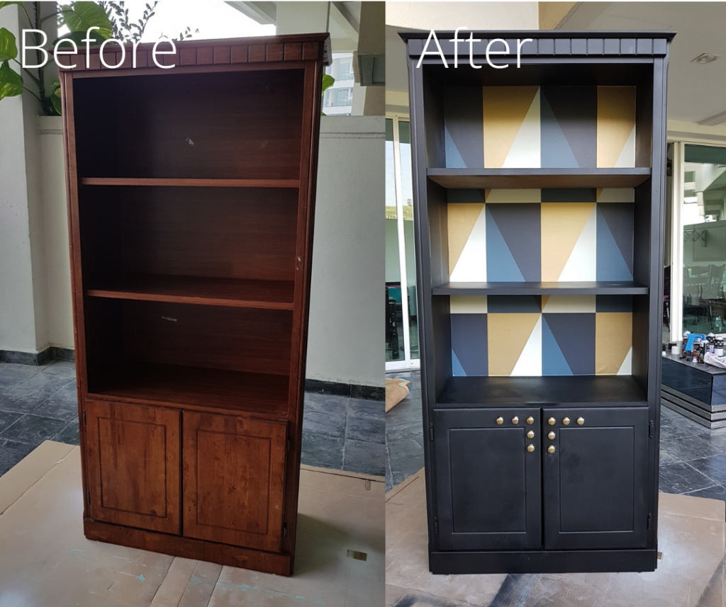 Before and after bookcase upcycling. Before is a brown wooden bookcase. After is a blue bookcase with geometric patterns behind the shelves in blue, white and cream.