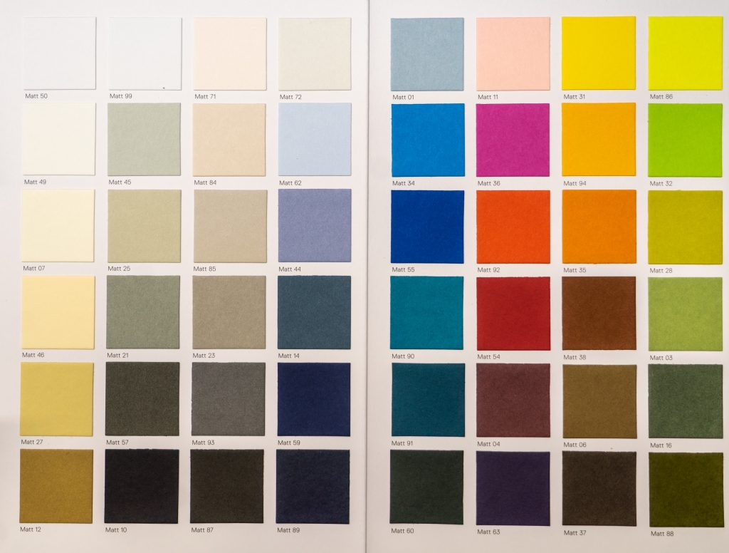 Colour swatch card